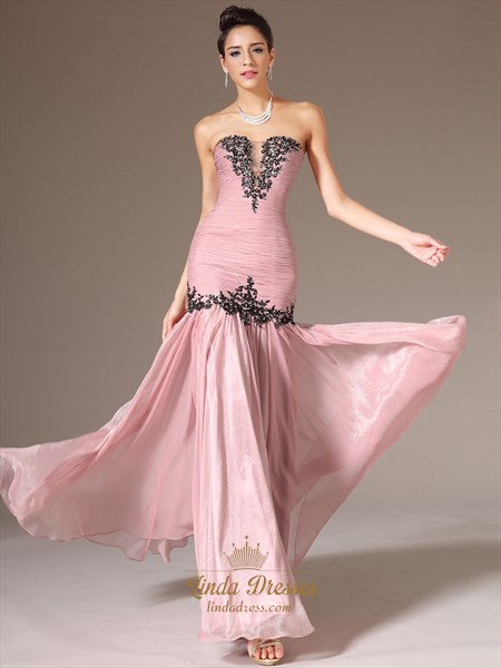 Pink Strapless Chiffon Long Prom Dress With Beaded Lace Applique