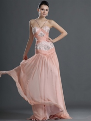 Pink Sheath Spaghetti Strap Chiffon Sweetheart Beaded Prom Dress
