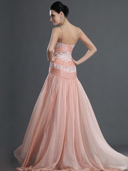 Pink Sheath Spaghetti Strap Chiffon Sweetheart Beaded Prom Dress
