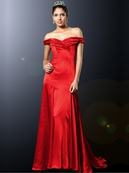 Elegant Red Off The Shoulder Sheath Satin Prom Dress With Ruching