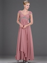 Show details for Pastel Pink V Neck Empire Prom Dress Ruched Bodice And Beaded Straps