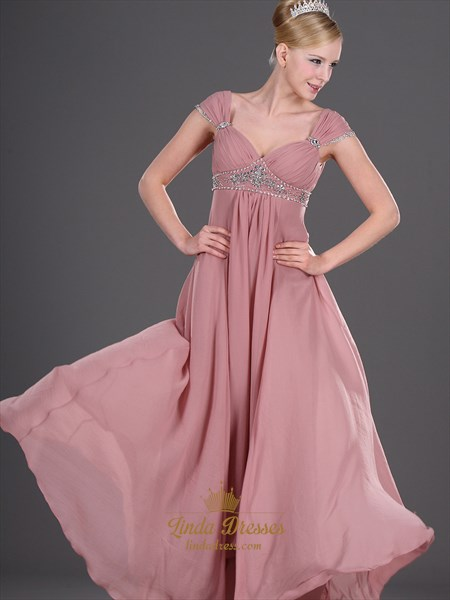 Pastel Pink V Neck Empire Prom Dress Ruched Bodice And Beaded Straps