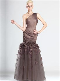 Coffee One Shoulder Mermaid Prom Dress With Floral And Pleated Detail