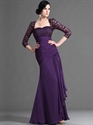 Show details for Purple Sweetheart Lace Bodice Chiffon Prom Dress With Front Cascade