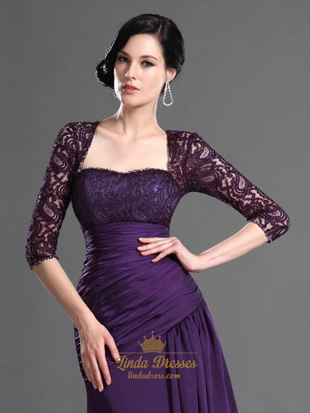 Purple Sweetheart Lace Bodice Chiffon Prom Dress With Front Cascade