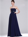Show details for Navy Blue Strapless Empire Chiffon Bridesmaid Dresses With Flower Detail