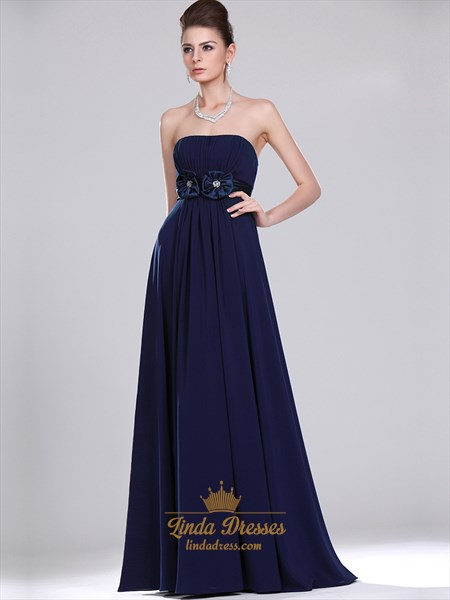Navy Blue Strapless Empire Chiffon Bridesmaid Dresses With Flower Detail