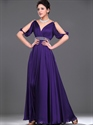 Show details for Purple Chiffon V Neck Ruched Bodice Prom Dress With Beaded Waistline