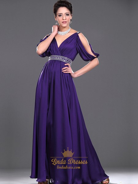 Purple Chiffon V Neck Ruched Bodice Prom Dress With Beaded Waistline