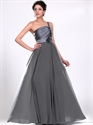 Show details for Grey One Shoulder Chiffon Beaded Straps Prom Dress With 3d Floral Detail