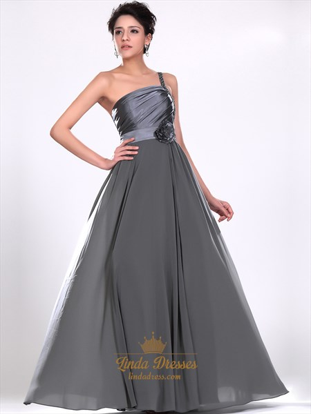 Grey One Shoulder Chiffon Beaded Straps Prom Dress With 3d Floral Detail