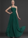 Emerald Green One Shoulder Chiffon Bridesmaid Dresses With Ruching
