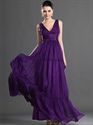 Show details for Purple V Neck Chiffon A-Line Floor Length Bridesmaid Dress With Ruching