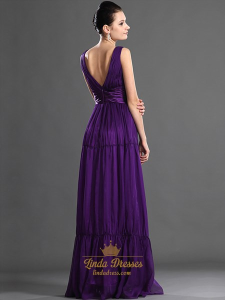 Purple V Neck Chiffon A-Line Floor Length Bridesmaid Dress With Ruching