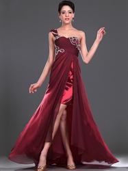 Burgundy One Shoulder Beaded Chiffon Prom Dress With Split Front Skirt