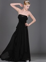 Show details for Black Strapless Empire Waist Chiffon Prom Dress With Beaded Neckline