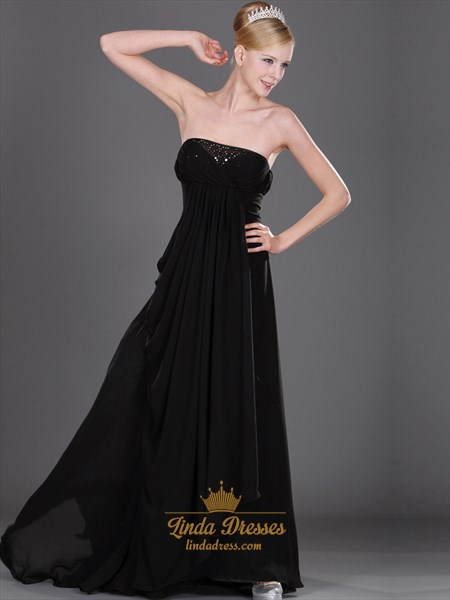 Show details for Black Strapless Empire Waist Chiffon Prom Dress With Beaded Neckline