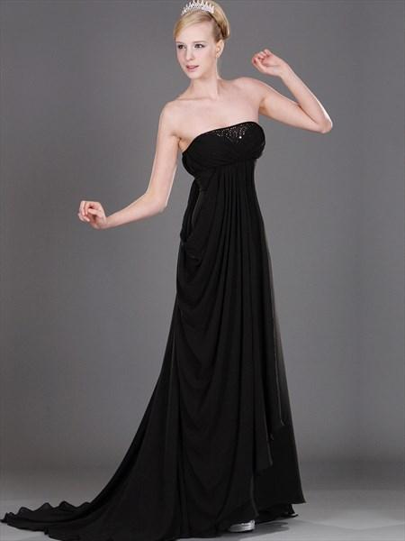 Black Strapless Empire Waist Chiffon Prom Dress With Beaded Neckline