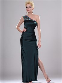 Dark Green One Shoulder Fitted Prom Dress With Rhinestone Detail