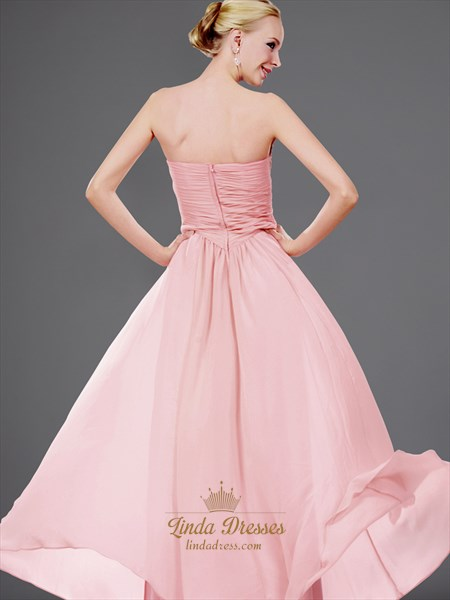 Pink Sweetheart Strapless Chiffon Bridesmaid Dress With Twist Front