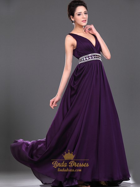Purple V Neck Chiffon Side Drape Prom Dress With Beaded Waistband