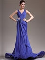 Show details for Royal Blue Column V-Neck Chiffon Prom Dress With Criss Cross Back