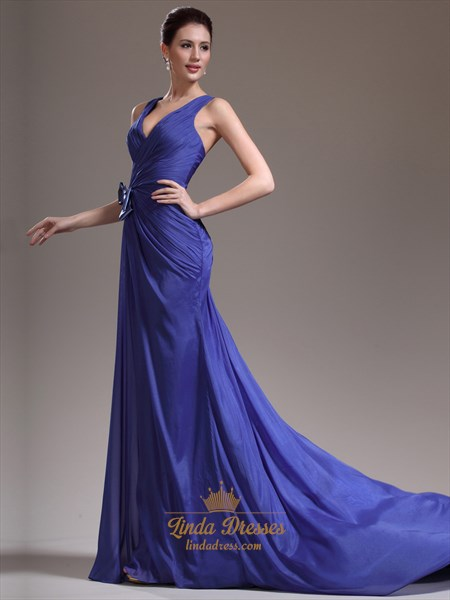 Royal Blue Column V-Neck Chiffon Prom Dress With Criss Cross Back