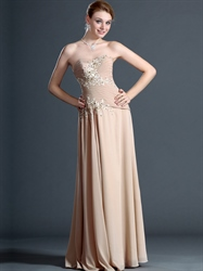 Champagne A-Line Sweetheart Chiffon Prom Dress With Beaded Lace Applique