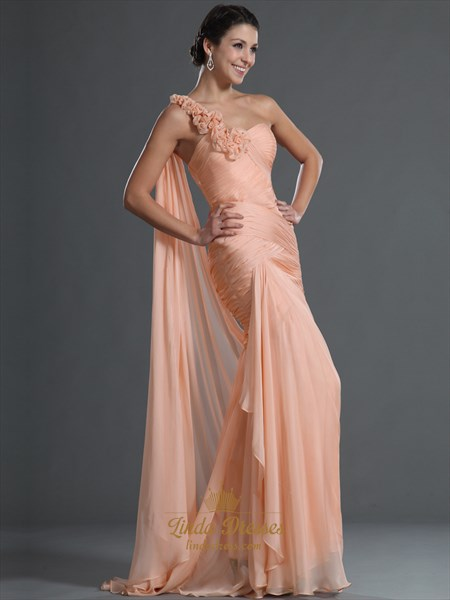Peach Chiffon Mermaid Prom Dress With Floral Detail And One Shoulder