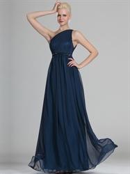 Navy Blue One Shoulder Chiffon Floor Length Bridesmaid Dresses With Belt