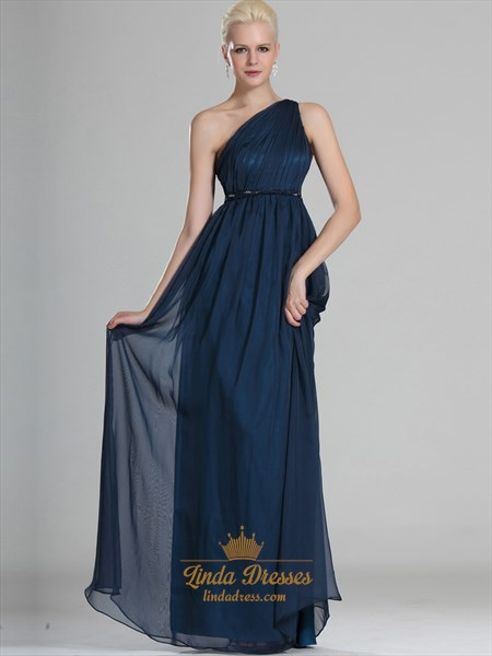 Navy Blue One Shoulder Chiffon Floor Length Bridesmaid Dresses With Belt