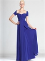 Royal Blue Off The Shoulder Chiffon Bridesmaid Dresses With Beading