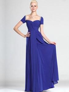 Royal Blue Off The Shoulder Chiffon Bridesmaid Dresses With Beading
