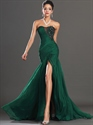 Show details for Emerald Green Strapless Chiffon Prom Dresses With Beaded Lace Applique