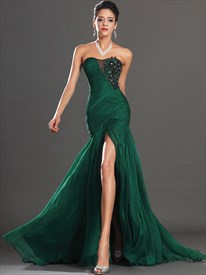 0860a6ea3cb Emerald Green Strapless Chiffon Prom Dresses With Beaded Lace Applique