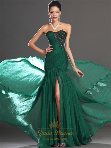 Emerald Green Strapless Chiffon Prom Dresses With Beaded Lace Applique