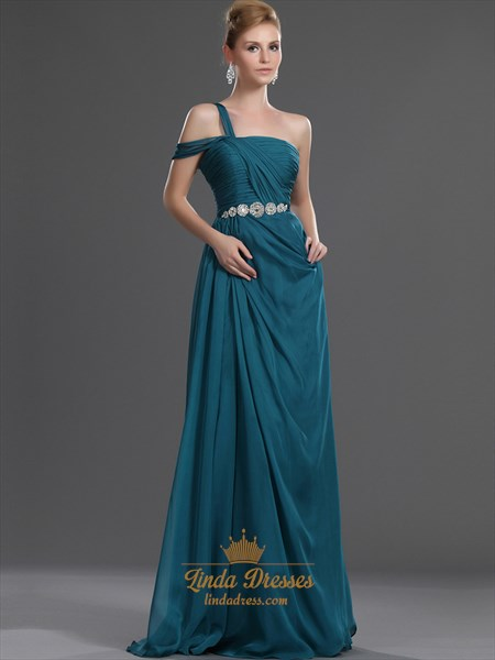 Teal Chiffon One Shoulder Beaded A-Line Prom Dresses With Side Drape