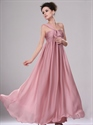 Show details for Pastel Pink One Shoulder Empire Waist Long Chiffon Bridesmaid Dress