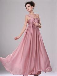 Pastel Pink One Shoulder Empire Waist Long Chiffon Bridesmaid Dress