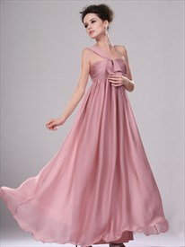 Pastel Pink One Shoulder Empire Waist Long Chiffon Bridesmaid Dress