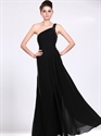 Show details for Black Chiffon One Shoulder Bridesmaid Dress With Beaded Straps