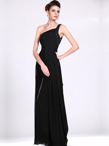 7cfbbd8f2f2 Black Chiffon One Shoulder Bridesmaid Dress With Beaded Straps ...