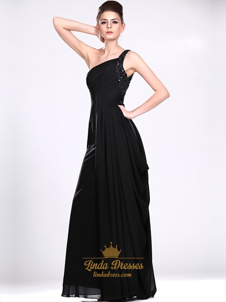 Black Chiffon One Shoulder Bridesmaid Dress With Beaded Straps