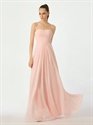 Show details for Pink Chiffon Strapless Floor Length Bridesmaid Dress With Lace Up Back