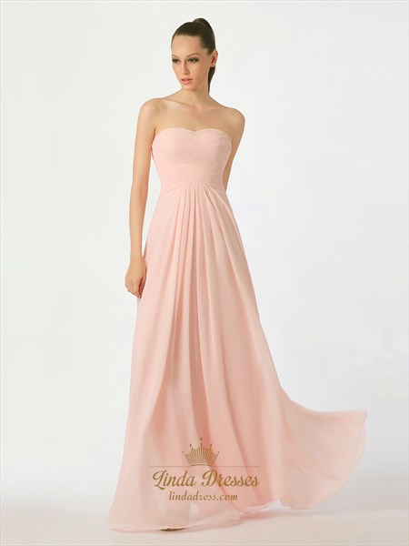 Pink Chiffon Strapless Floor Length Bridesmaid Dress With Lace Up Back