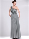 Show details for Grey Chiffon Sequin Bodice One Shoulder Prom Dress With Obi Detail