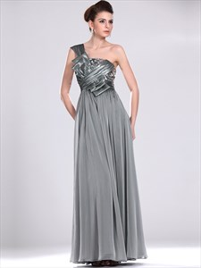 Grey Chiffon Sequin Bodice One Shoulder Prom Dress With Obi Detail