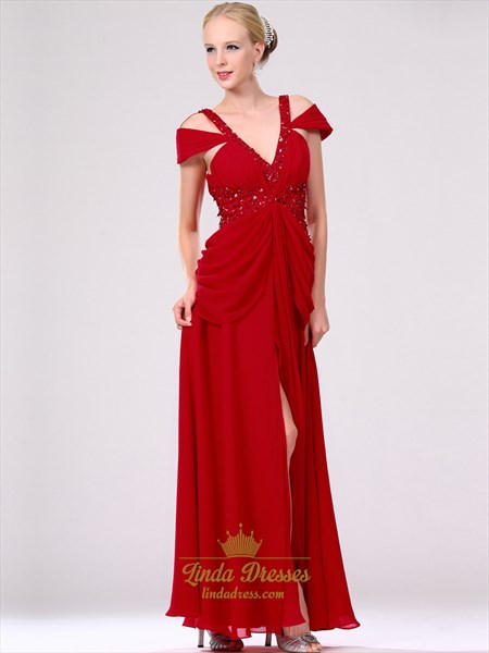 Red V-Neck Chiffon Prom Dress With Side Draped Bodice And Beading