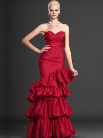 Red Mermaid Trumpet Strapless Taffeta Prom Dress With Layered Skirt