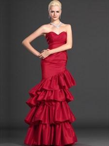 Red Mermaid Trumpet Strapless Taffeta Prom Dress With Layered Skirt